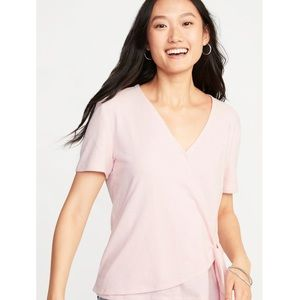 Old Navy Pink Wrap Front & Side Tie Top